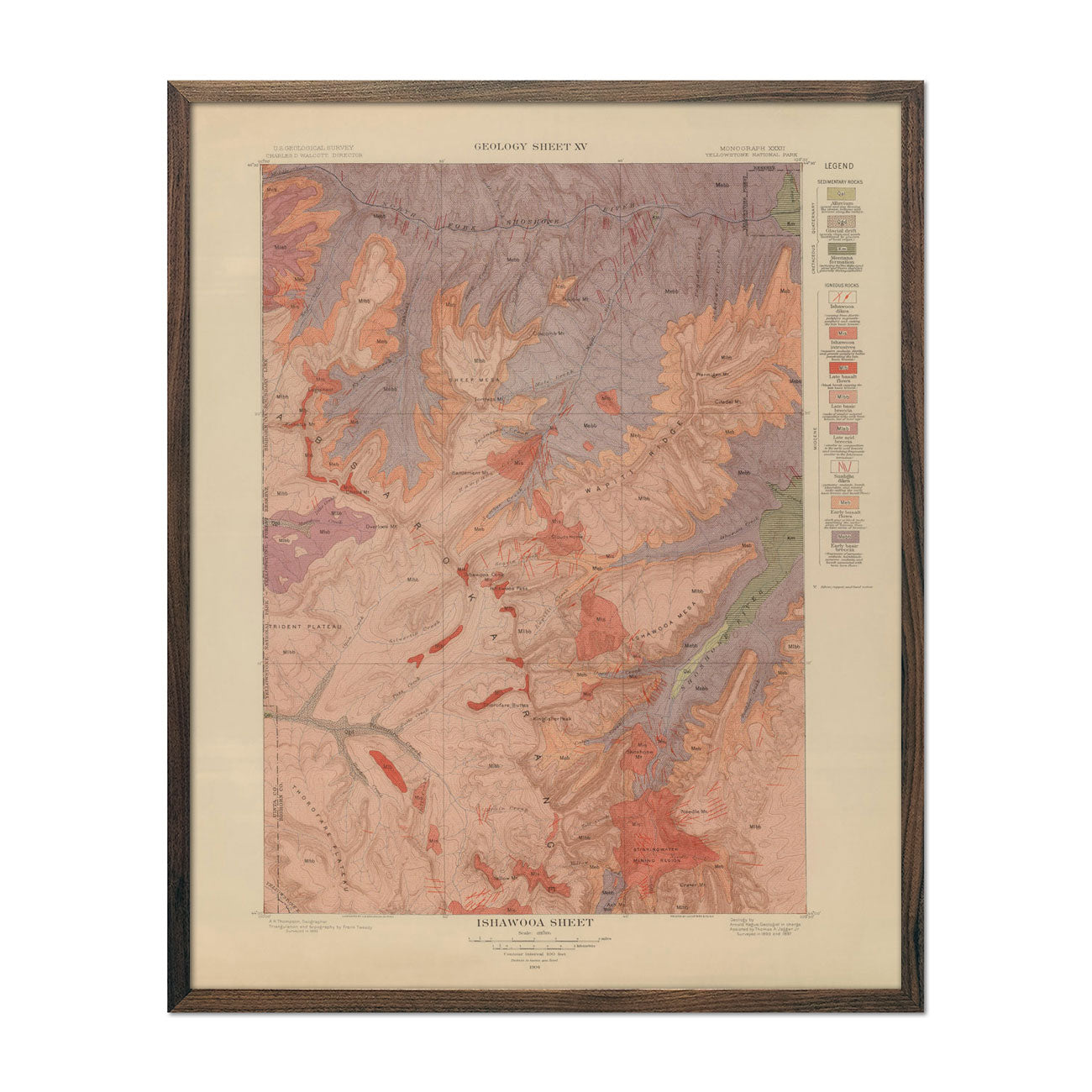 1904 Yellowstone Geologic Map of Ishawooa