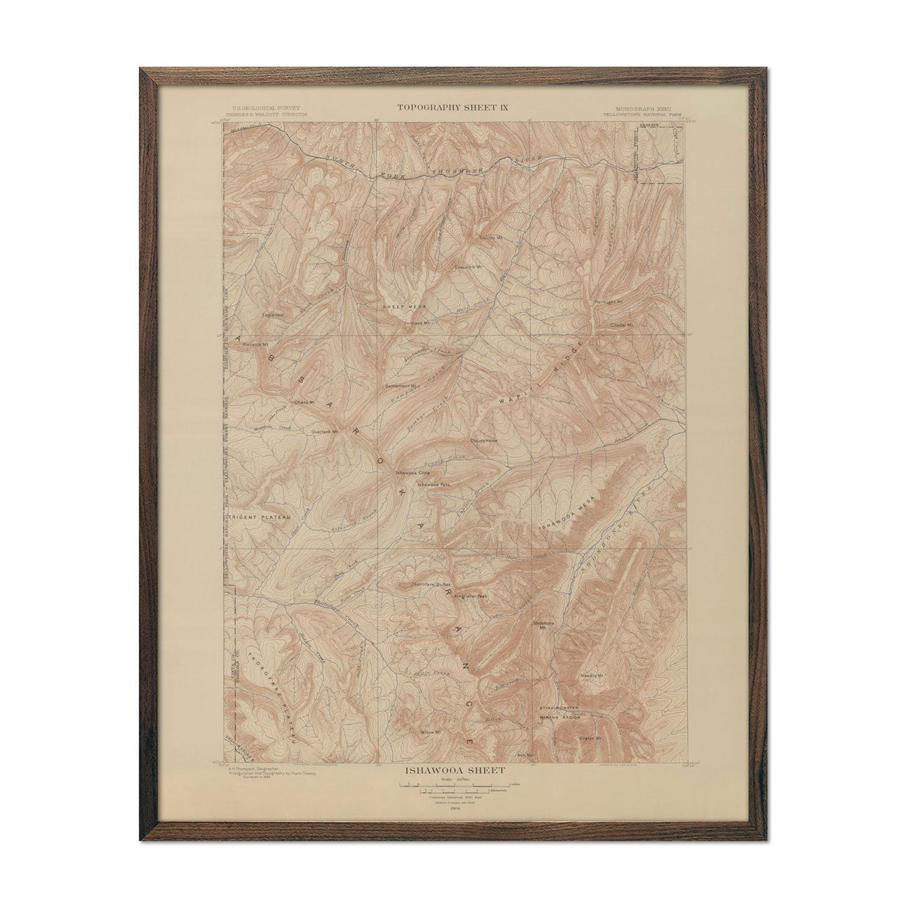 1904 Yellowstone Topographic Map of Ishawooa