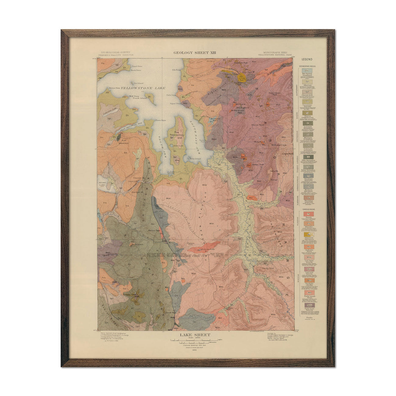 1904 Yellowstone Geologic Map of Lake Section