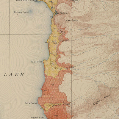 1904 Yellowstone Geologic Map of the Shores of Yellowstone Lake