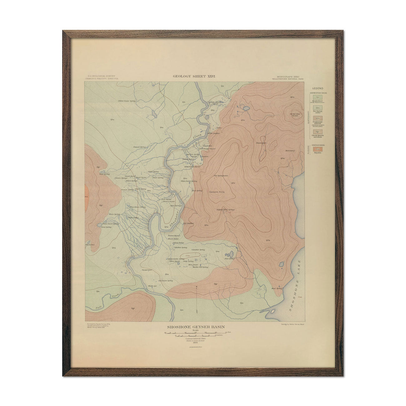 1904 Yellowstone Geologic Map of Shoshone Geyser Basin