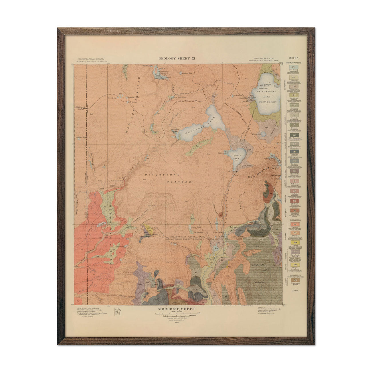 1904 Yellowstone Geologic Map of Shoshone Section
