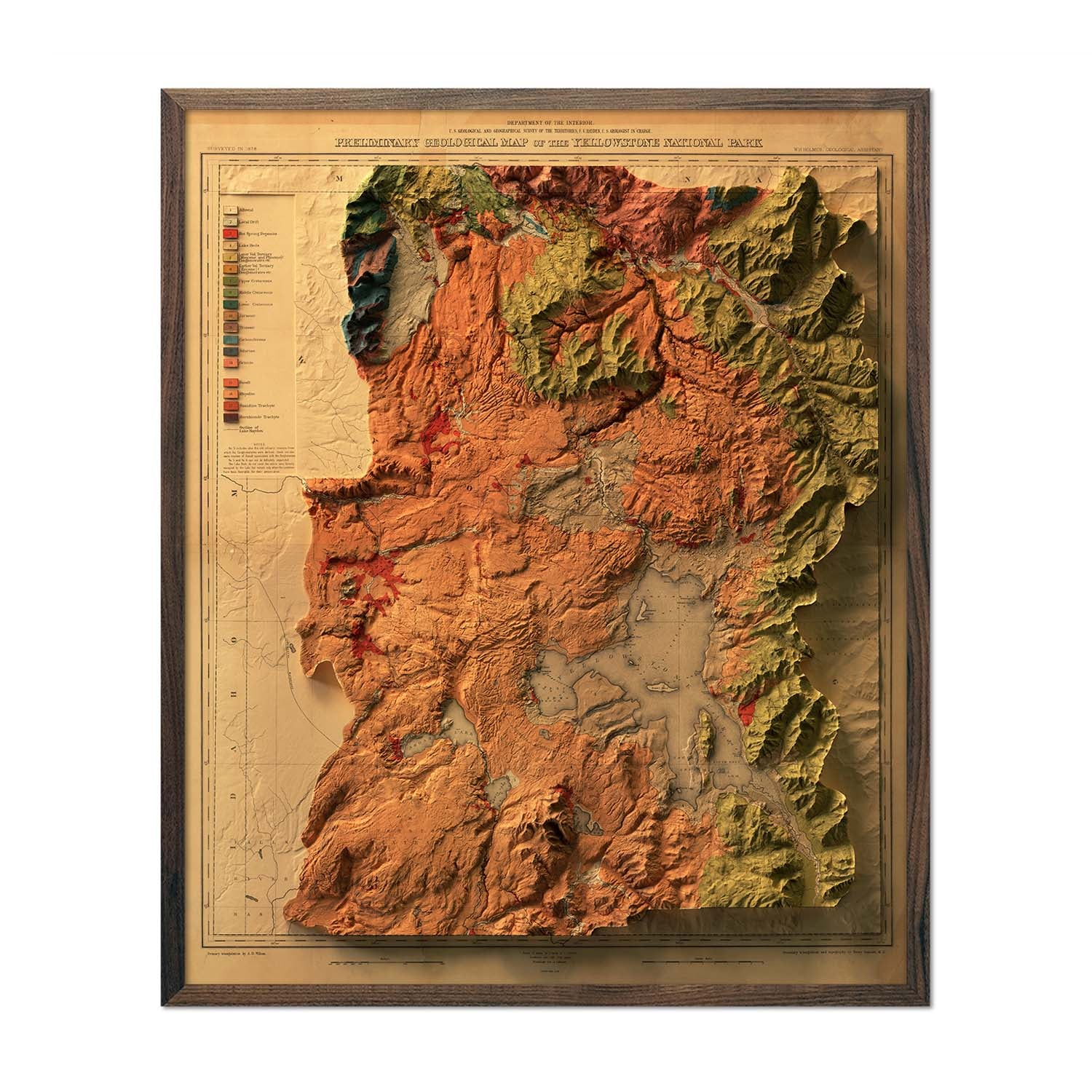 Yellowstone 1878 Relief Map