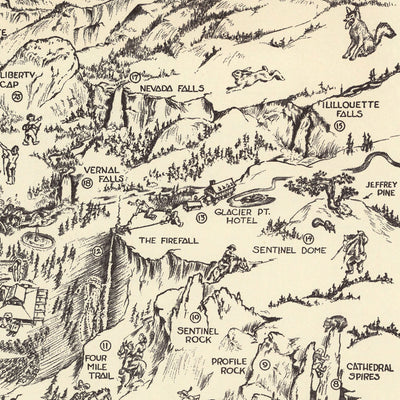 Yosemite Valley Whimsical 1946 Map