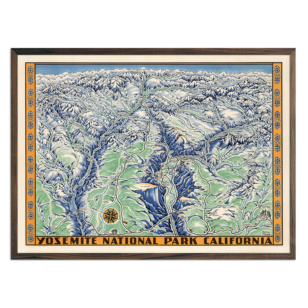 Yosemite National Park Map 1955