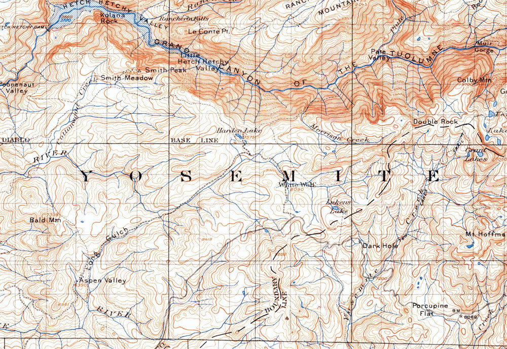 Yosemite National Park 1951 Usgs Map Muir Way