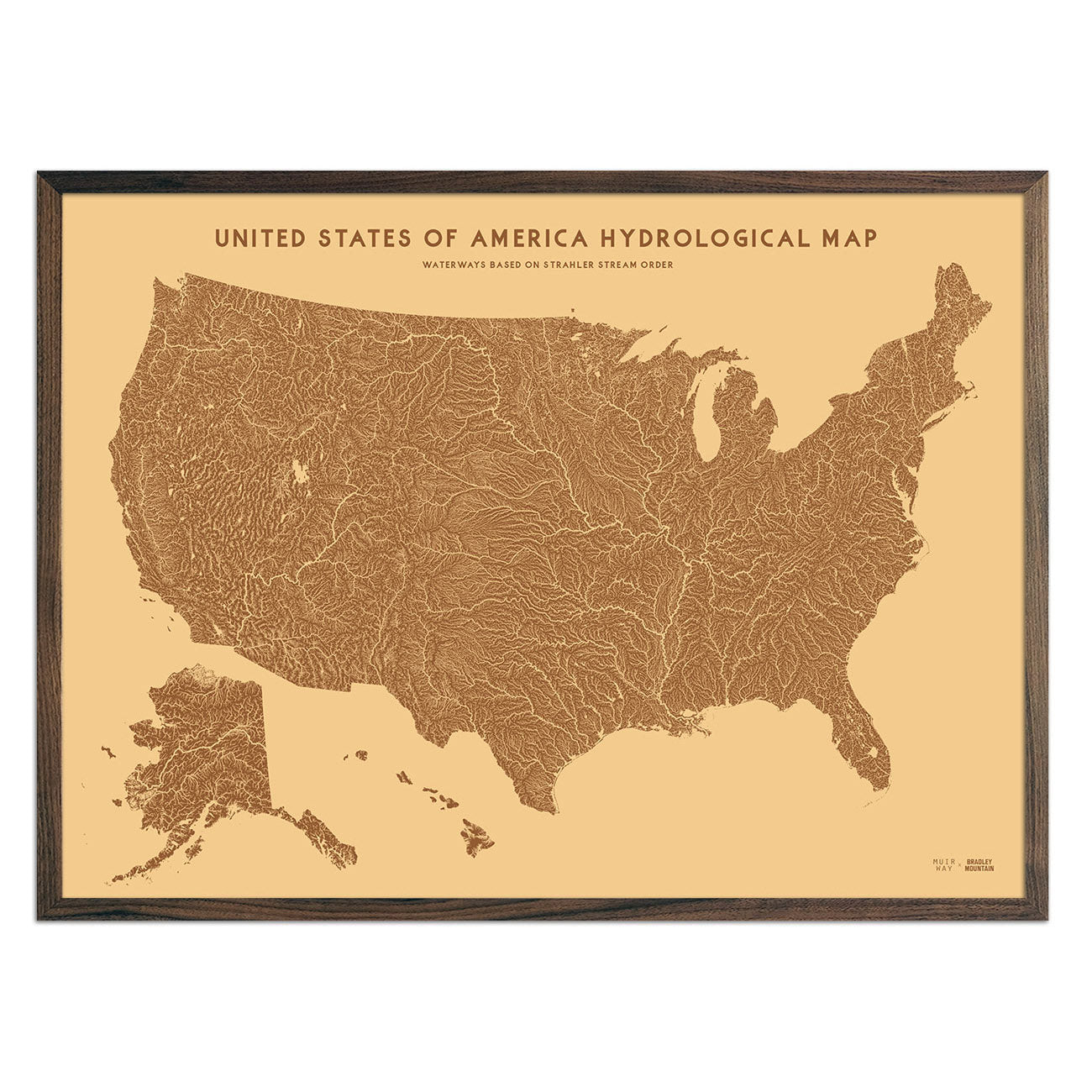 USA Hydrological Map – Desert Tan
