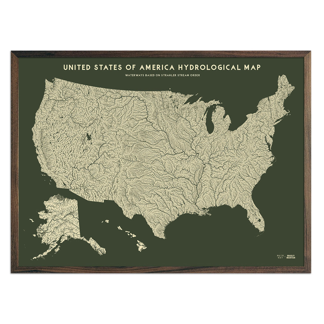 USA Hydrological Map – Canvas Green