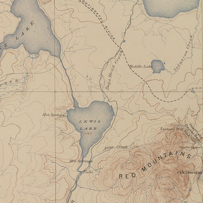 1904 Yellowstone Topographic Map of Shoshone Section