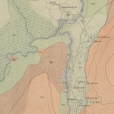 1904 Yellowstone Geologic Map of Upper Geyser Basin