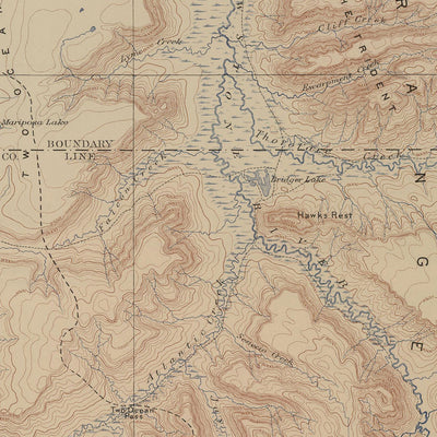 1904 Yellowstone Topographic Map of Lake Section