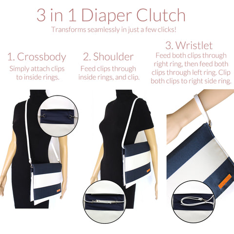 Diaper Clutch in Shore Ahoy