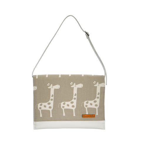 Diaper Clutch in Taupe Giraffe
