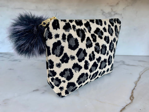 Limited Edition  Velvet Pouch - Snow Leopard