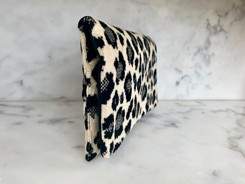 Limited Edition  Velvet Clutch Wallet - Snow Leopard