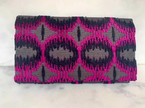 Limited Edition  Velvet Clutch Wallet - Magenta Circles