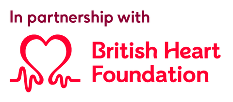 British Heart Foundation logo - in partnership with Lost Stock