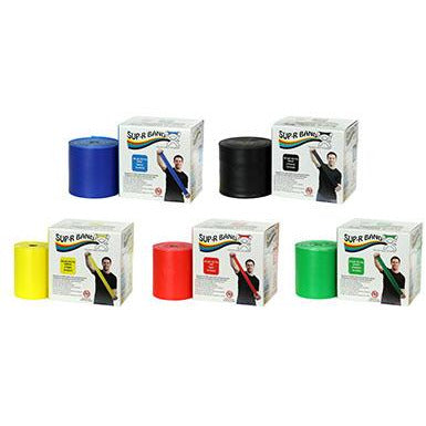 Sup-R Band Latex Free Exercise Band - 50 yard roll - 5-piece set (1 each: yellow, red, green, blue, black)