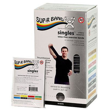 Sup-R Band, latex-free, 5-foot Singles, 30 piece dispenser, black