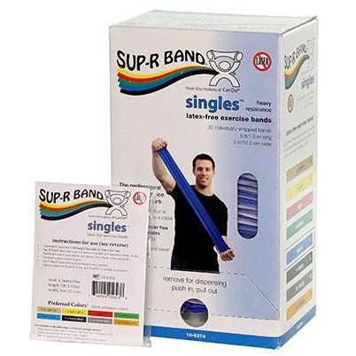 Sup-R Band, latex-free, 5-foot Singles, 30 piece dispenser, blue