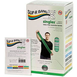 Sup-R Band, latex-free, 5-foot Singles, 30 piece dispenser, green