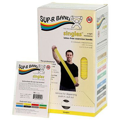Sup-R Band, latex-free, 5-foot Singles, 30 piece dispenser, yellow