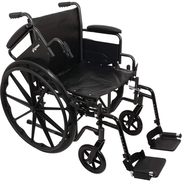 "Vonco ProBasics K2 Wheelchair with Flip Back arms and Hemi-Height Position, 20""x16"""