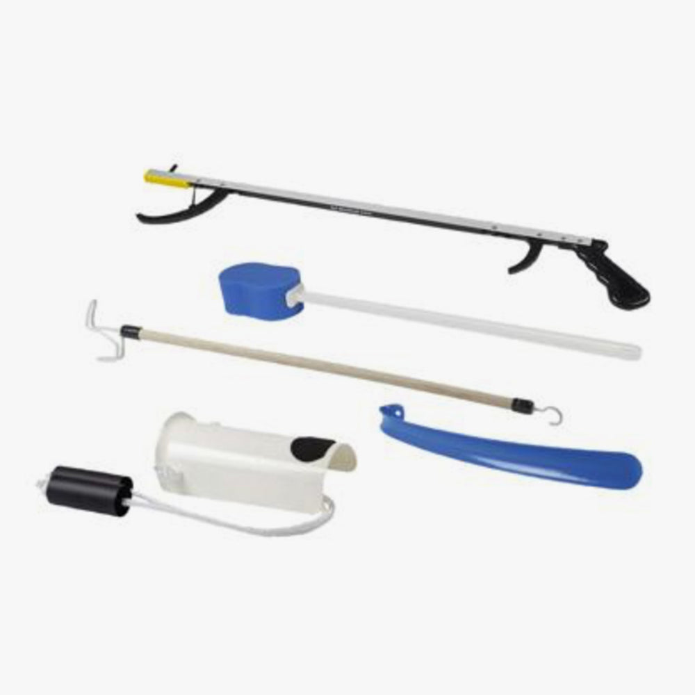 "FabLife™ Hip Kit: 32"" reacher, contoured sponge, formed sock aid, 18"" plastic shoehorn, 24"" dressing stick"