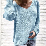 V Neck Knitted Pullover Sweaters