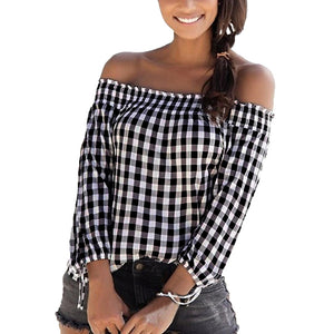 Off Shoulder Check Plaid Long Sleeve Blouse