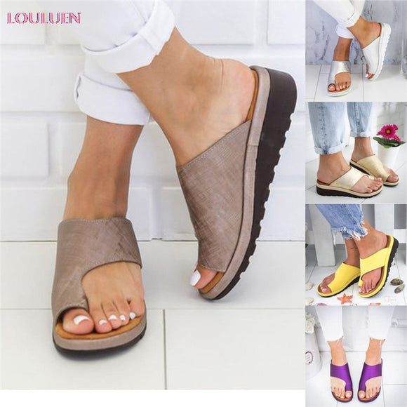 Women PU Leather Shoes Comfy Platform Flat Sole Ladies Casual Soft Big Toe Foot Correction Sandal Orthopedic Bunion Corrector #6