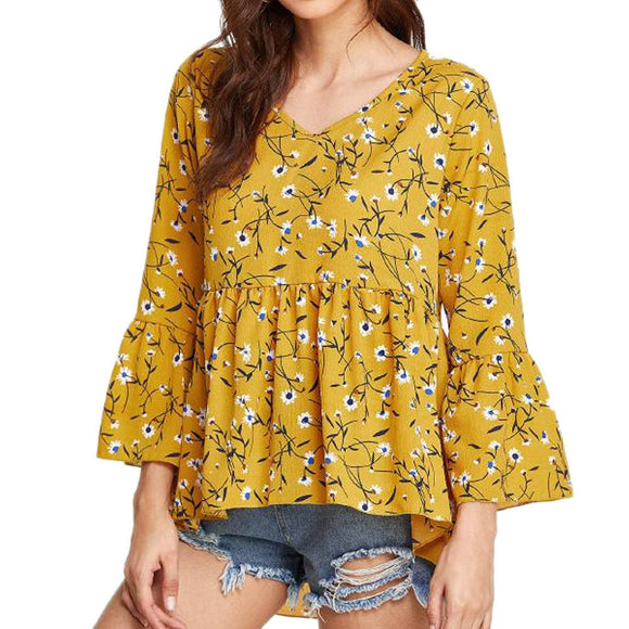 Three Quarter Flare Sleeve Floral Print Blouse