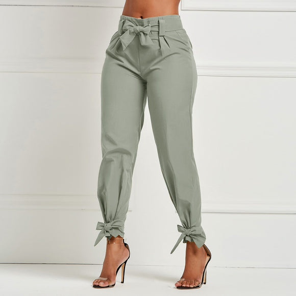 NIBESSER High Waist Belt Pocket Bow Tie Pants