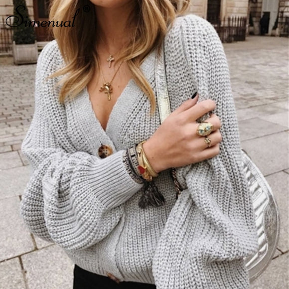 Long Sleeve Button V Neck Sweater