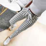 Striped Long Tie High Waist Pants