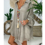 Cotton Plus Size Long Sleeve Tunic
