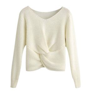 Long Sleeve V-neck Cross Knotted Sweater Plus Size Available