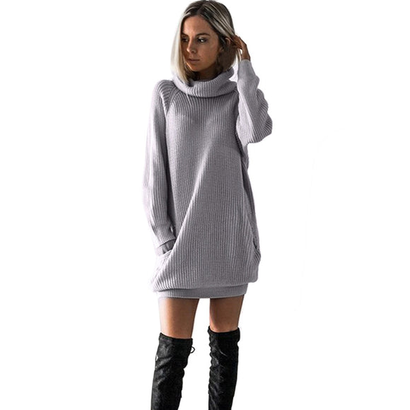 Long Sleeve Roll Collar Knit Dress
