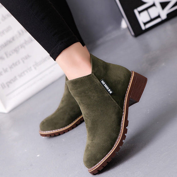 Leather Ankle Flock Boots