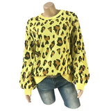 Long-sleeved Round Neck Leopard Sweater