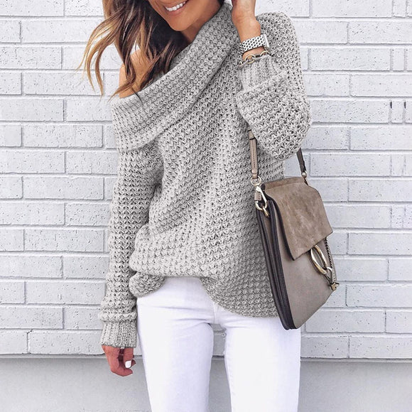 High Neck Long Sleeve Turtleneck Sweater