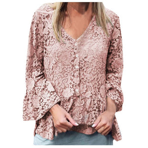 Lace Flare Sleeve V-Neck Shirt