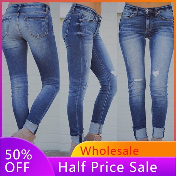 Denim Cropped Jeans Elastic Slim Plus Size