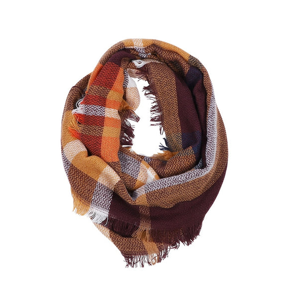 Knitted Plaid Scarf