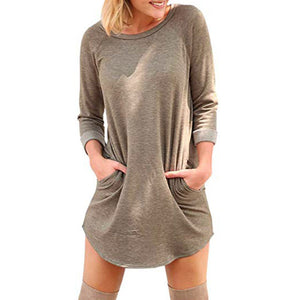 Solid Tunic Long Sleeve Pocket Dress