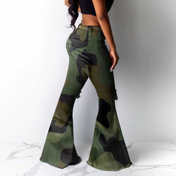 Camouflage Women Big Flare Jeans
