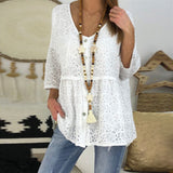 Solid Color Lace Blouses Plus Size 5XL