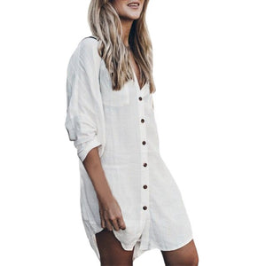 Button Pockets Shirt Dress