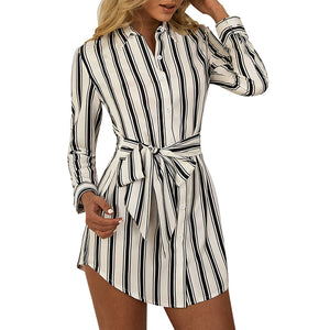 Striped Print Casual Long-sleeved Shirt Dress