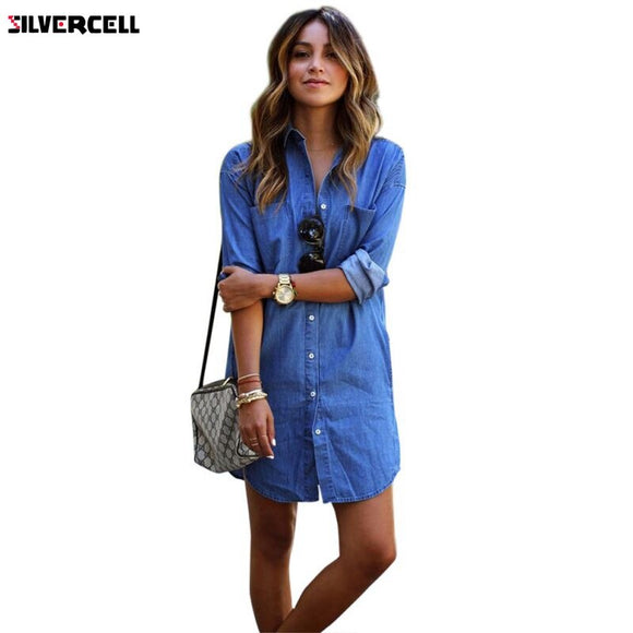 Long Sleeve Denim T Shirt Dresses